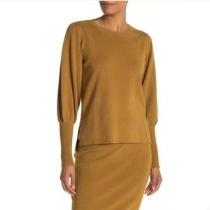 Bobeau XL Mustard Crew Neck Side Vent Sweater